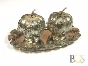 Vintage-Sterling-Silver-PUMPKIN-Salt-And-Pepper-Shakers-On-Tray-MEXICO