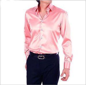New-Pink-Slim-Men-039-s-Wedding-Shirts-Long-Sleeve-Silk-Satin-Prom-Groom-Men-039-s-Shirt
