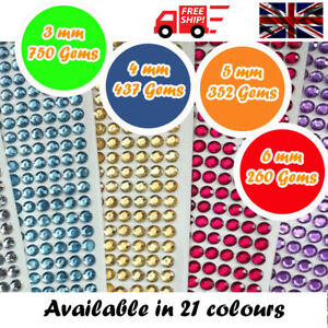 Round-Decorative-Diamante-Crystal-Sticky-Rhinestone-Gems-in-4-Sizes-amp-21-Colours