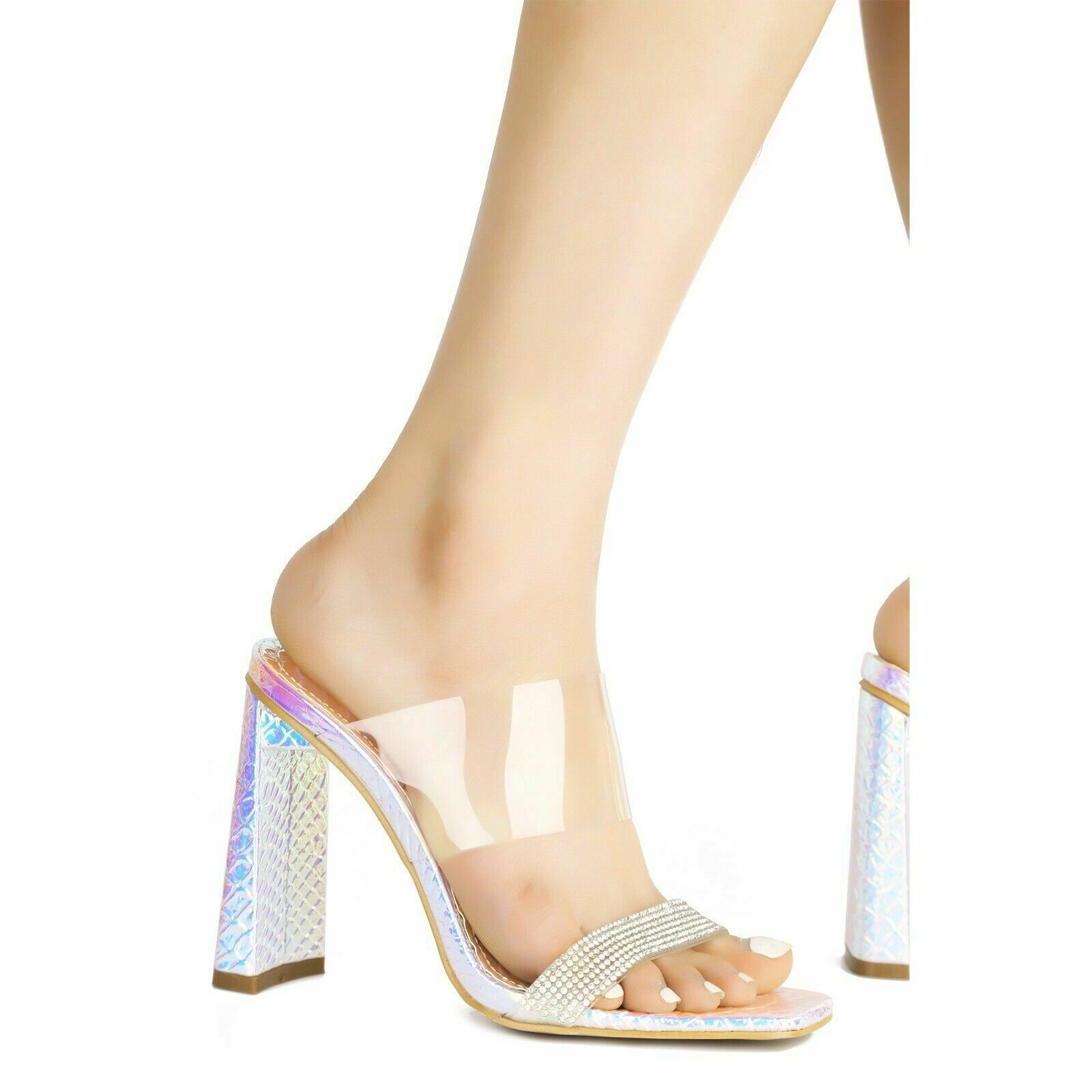 Cape Robbin Justna Clear Square Open Toe Heeled Sandals Ice Silver