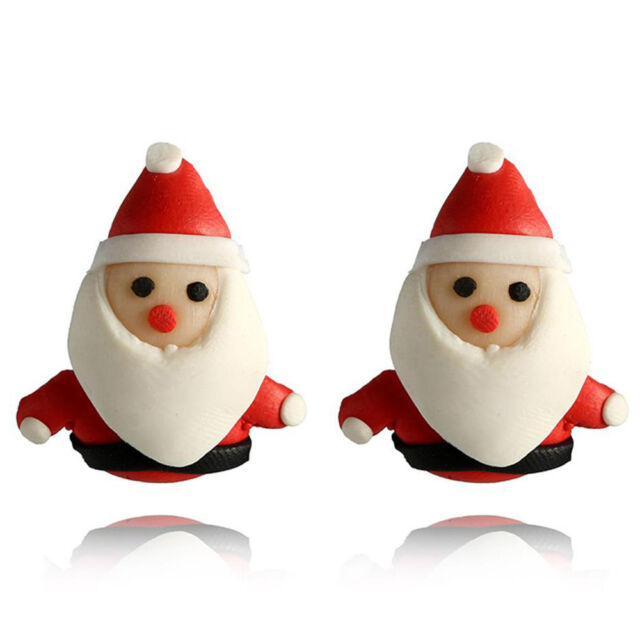 cb673b78b0984 Christmas Polymer Clay Ear Stud 3D Snowman Earrings Handmade Soft Santa  Jewelry