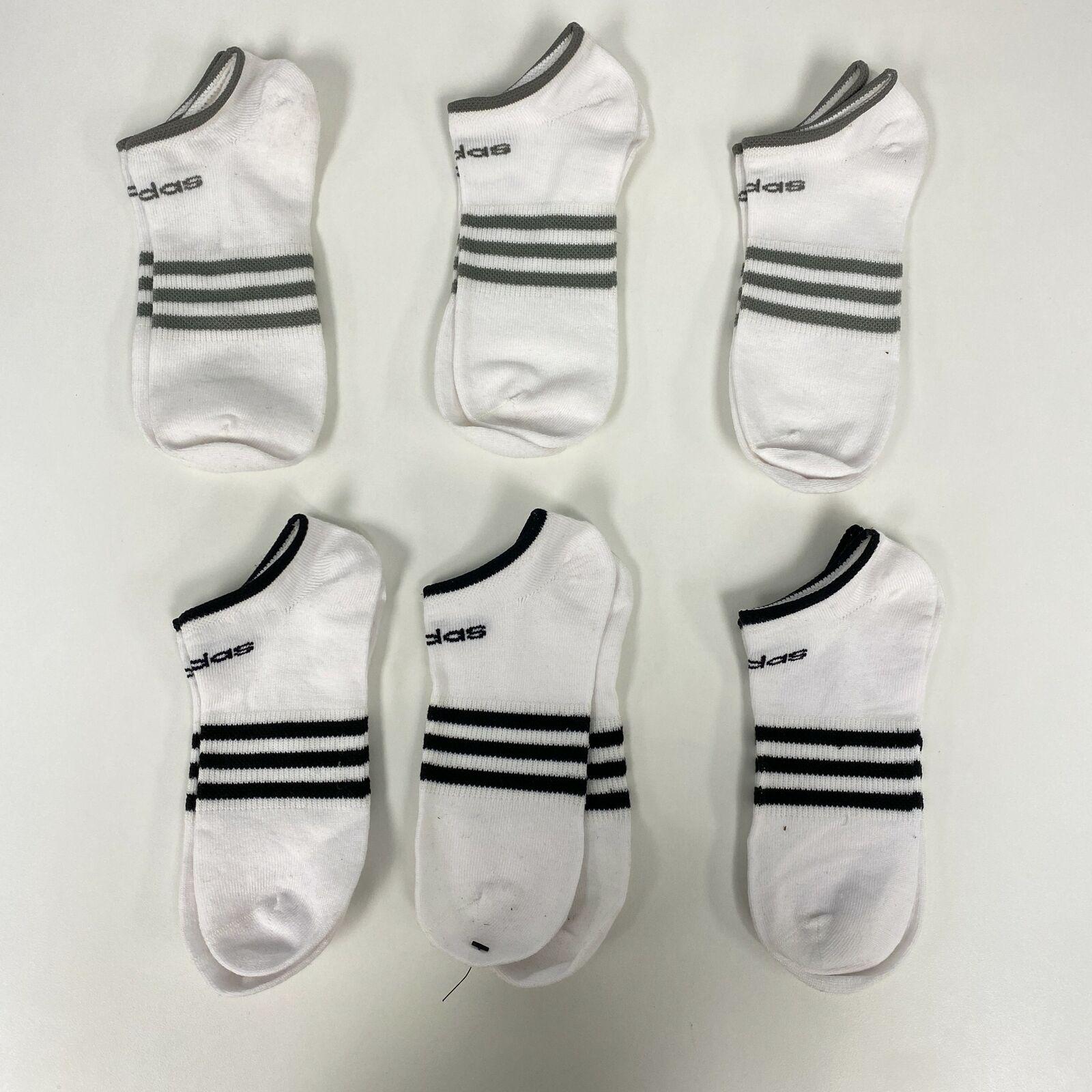 (6 par) Adidas Unisex Blanco con rayas, Superlite No Show Calcetines Osfa Nuevo sin etiquetas