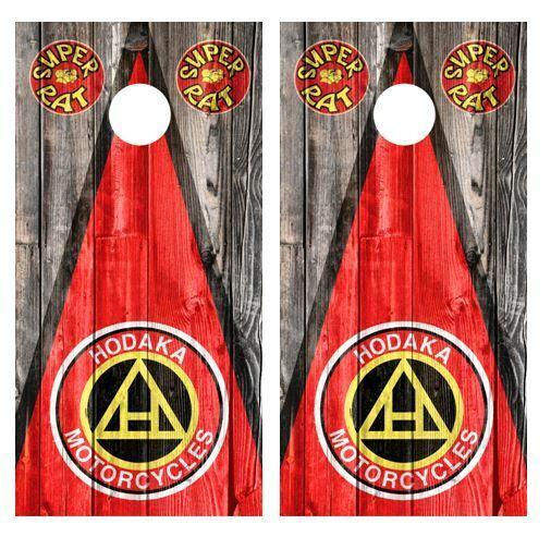 Hodaka Triangle Barnwood Cornhole Board Wraps FREE LAMINATION & SQUEEGEE   authentic online