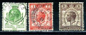 GB-1929-Postal-Union-Congress-London-part-Set-SG434-436-GEORGE-V-Used