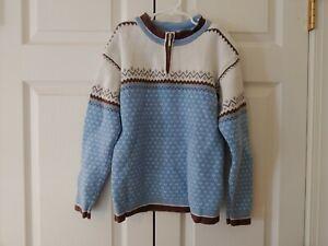 Boy Hanna Andersson Nordic Fair Isle 1/4 Zip Blue Gray sweater Size 130 8