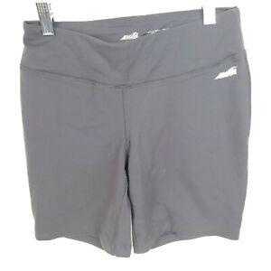 Avia-Solid-Gray-High-Rise-Running-Biking-Womens-Workout-Shorts-S-Small-EUC