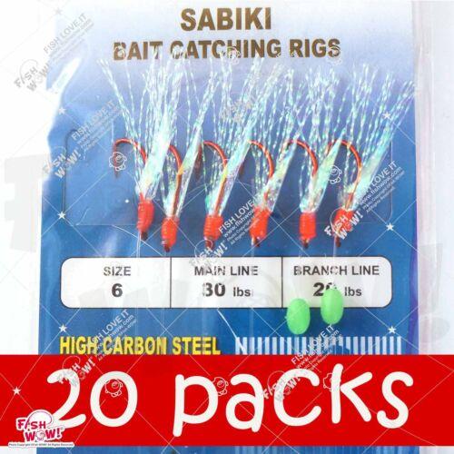 20packs Size 6 Fishing Piscatore Sabiki Rig RED 6Hooks Skin Mackerel Bait #6 NEW