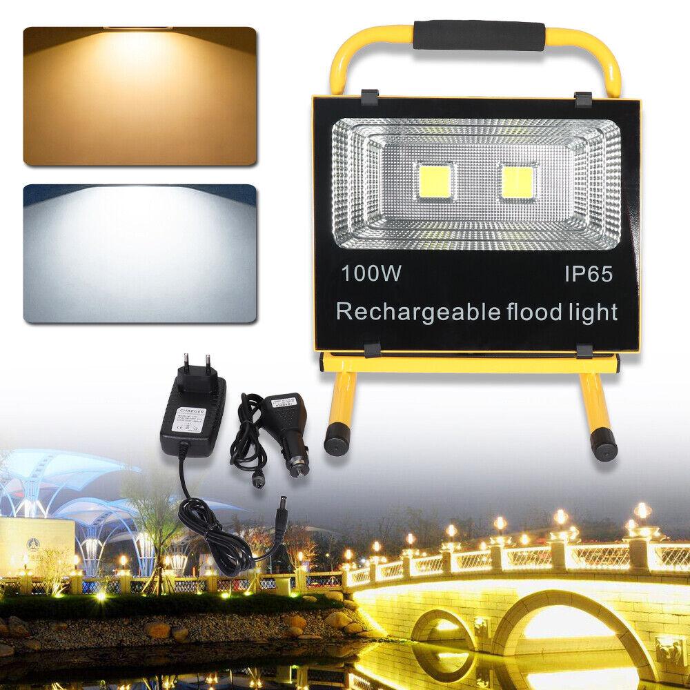 100W Warmweiß   Kaltweiß Fluter LED Arbeitsleuchte Akku Handlampe Flutlicht IP65