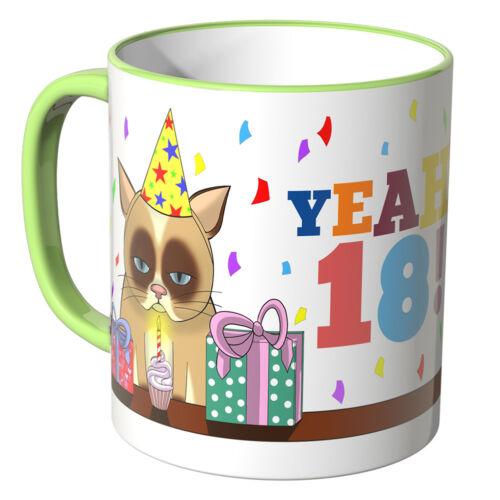 """Farben Geschenk WANDKINGS Tasse Schriftzug /""""YEAH 18/"""" mit süßem Kätzchen ver"""