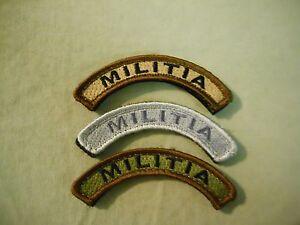"""""""Militia"""" Rocker/Tab Patches in Coyote/Tan, BDU Woodland, ACU Grey Hook/Loop"""