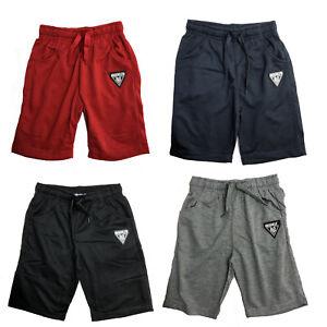Pantaloncini-Ragazzi-Bambini-Tinta-Unita-in-Pile-Brooklyn-Estate-Sport-Palestra-Grigio-Rosso-Nero