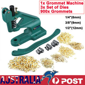 "900x Gold Grommets Eyelet Hole Hand Press Punch Machine +3 Dies 1/4"" 3/8"" 1/2"""
