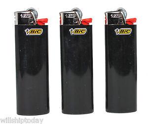 Details about 3 All Black Bic Lighters - Standard Size Solid Color Plain  Black Bic Lighters