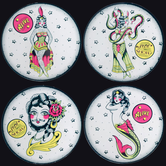 SOURPUSS SIDESHOW LADIES COASTERS SET OF 4. FREAK SHOW. CARNIVAL. SNAKE CHARMER.