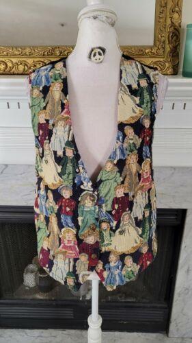 Vintage 80s Novelty Print Doll Vest XL
