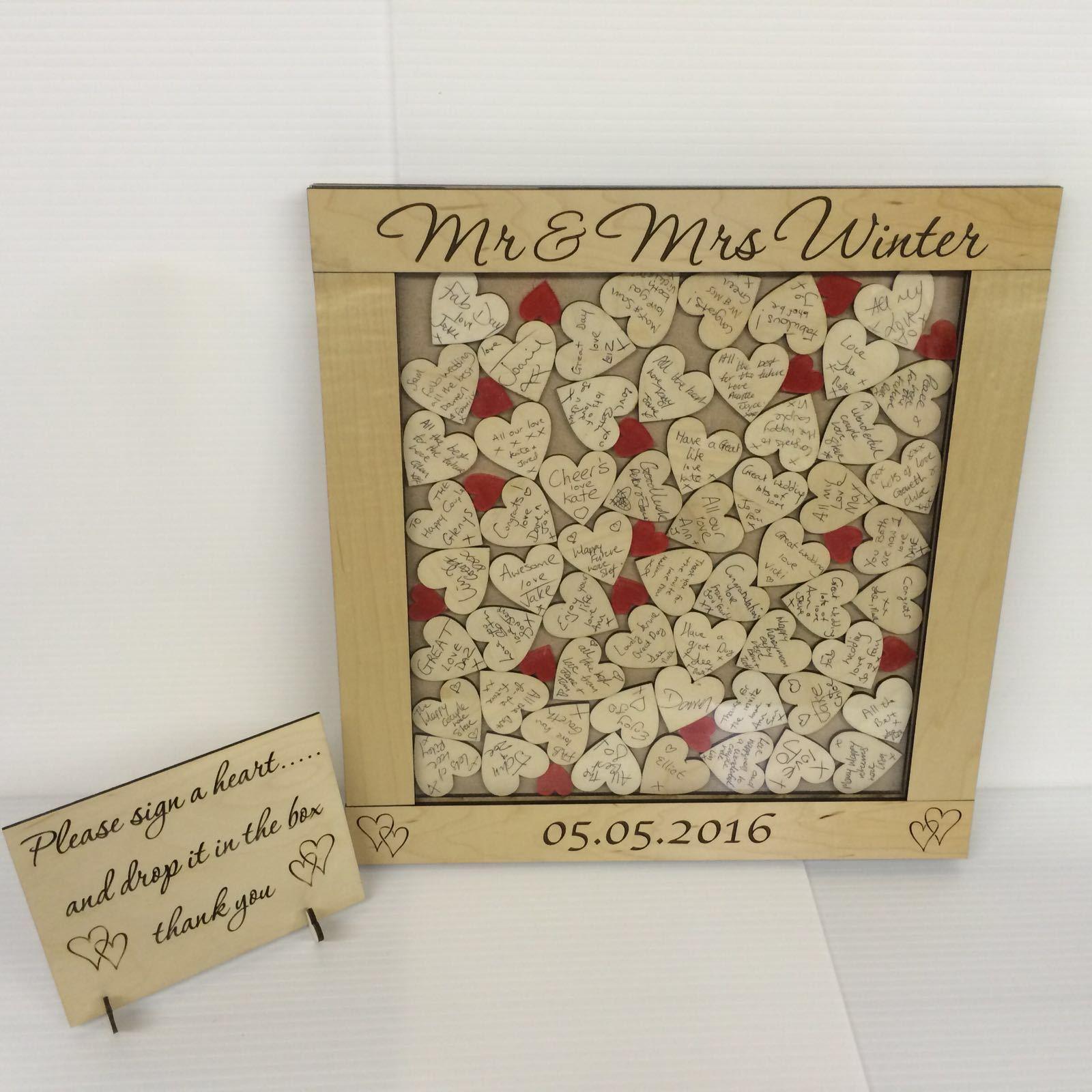 Personnalisé De Luxe Maplewood Rouge Goutte Mariage Livre d'or Drop Box 144 Heart
