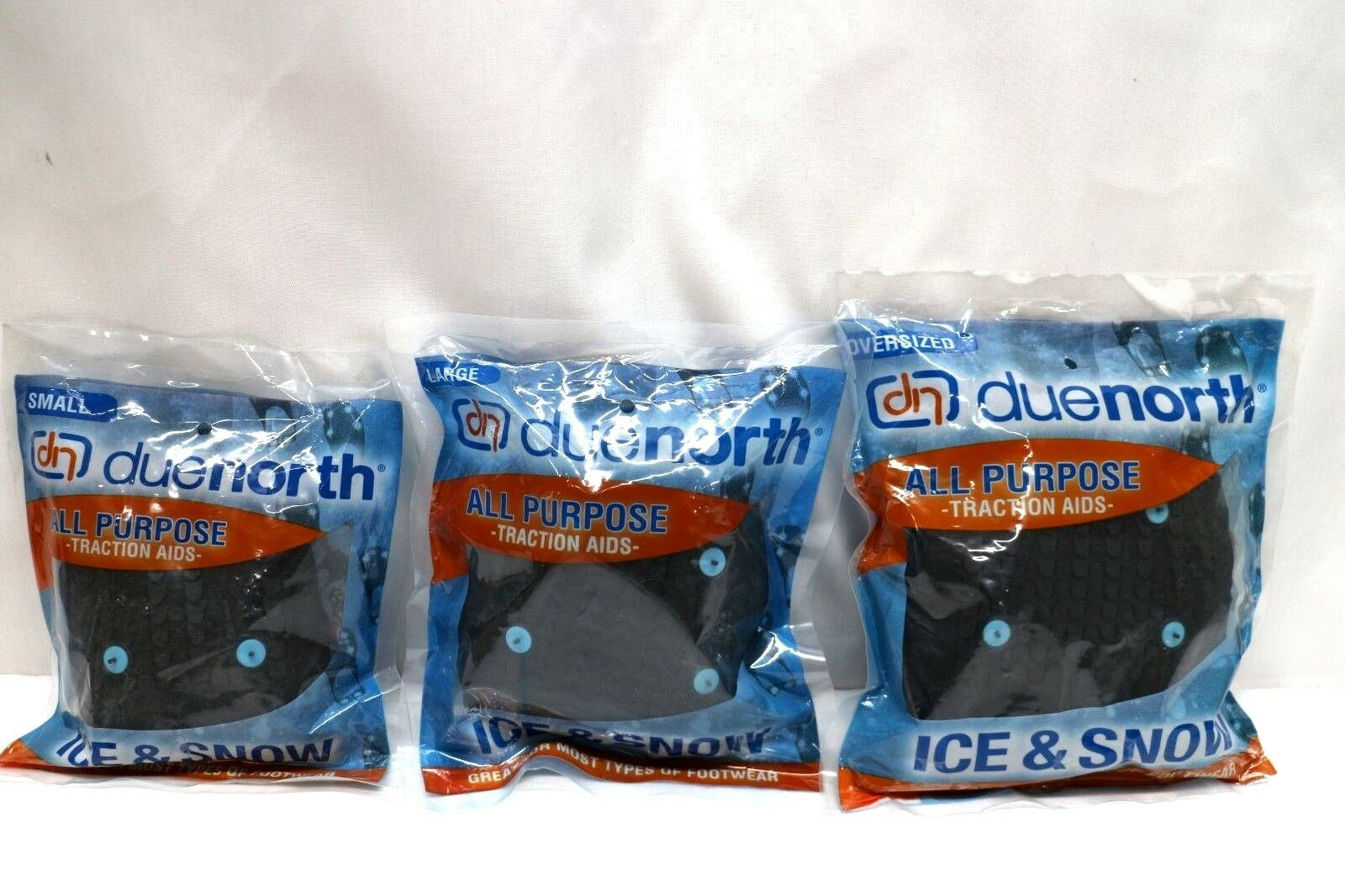 3 Asst X Due North All Purpose Ice Traction Aid. Oversized. small, Large