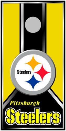 Pittsburgh Steelers 0588 single custom cornhole board game vinyl wrap sticker