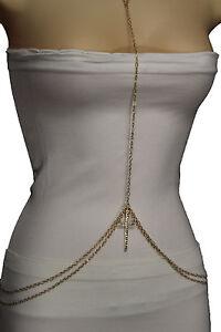 Women-Gold-Metal-Body-Chain-Necklace-Jewelry-Bikini-Harness-V-Neck-Cross-Pendant