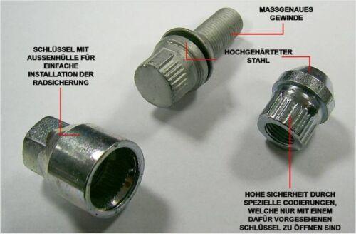 Felgenschloss Citroen Xantia Schraube M12x1.25x30 Kegelbund 60° Felgensicherung