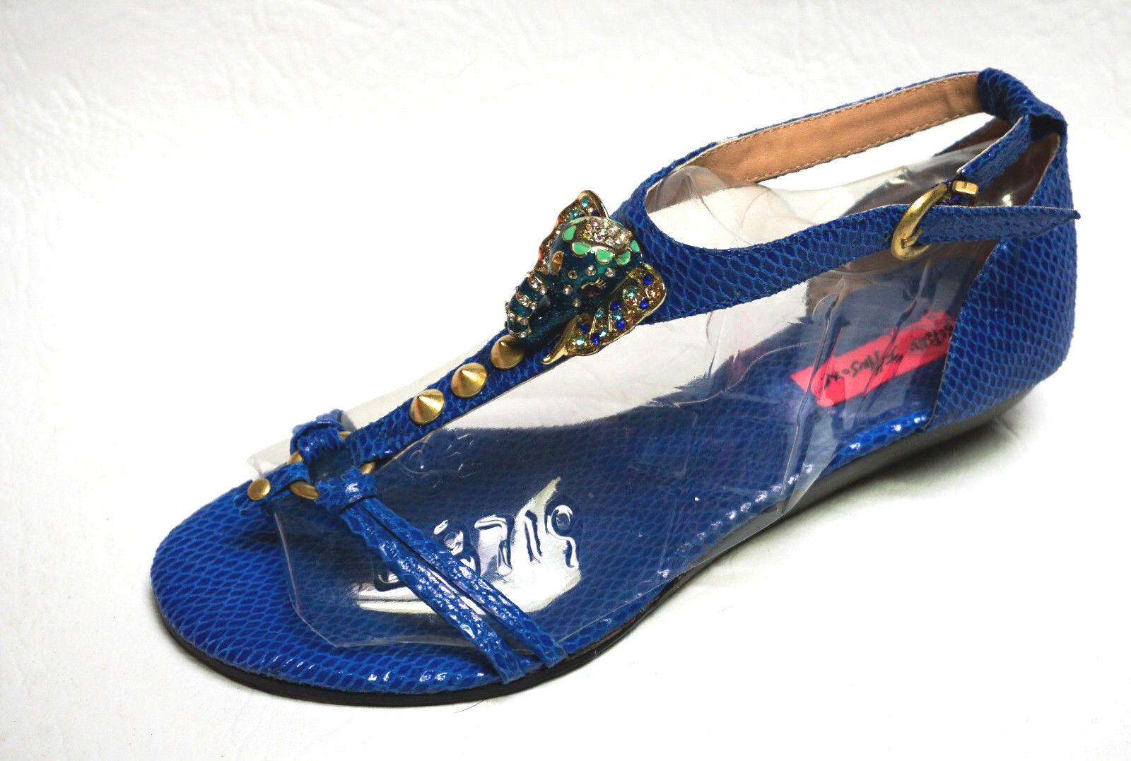 Betsey Johnson KAHLUUA bleu Elephant Embellished T-strap thong sandals NEW