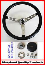 """Jeep CJ5 CJ7 YJ Cherokee Wagoneer GRANT Steering Wheel Black 15"""" Round Holes"""
