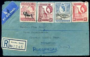 BRITISH-KENYA-UGANDA-TO-INDIA-Air-Mail-Registered-Cover-VERY-NICE