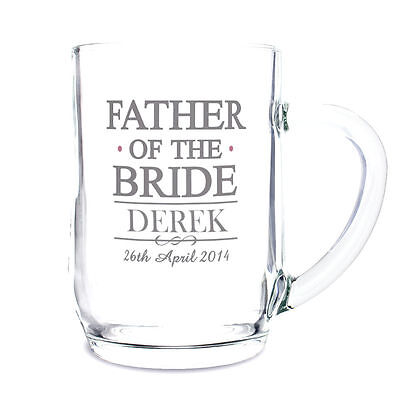 Personalised Beer Glass Tankards Groom Best Man Usher etc Wedding Thank You Gift