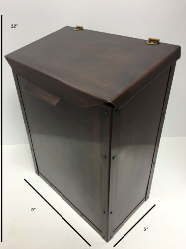 Large Copper Mailbox Wall Mount Handmade Riveted Bronze Finish Brass Accessories