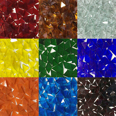Triangle Stained Glass Mosaic Tiles 15x15mm DIY Crafting Mica Glass Mosaic 50g