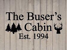 "Custom Family Cabin Vinyl Wall Quote Sticker Decal 17""h x 36""w- 40""w"