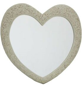 Large cream heart mirror with engraved roses home decor for Miroir 110 x 90