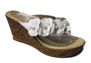 Athena Alexander Women's Floral Wedges White US 8 NOB NWD