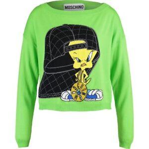 Uk Pull 12 Vert Par Moschino S Couture Tweety En Laine Jeremy Scott 10 Rare rAqO4rP