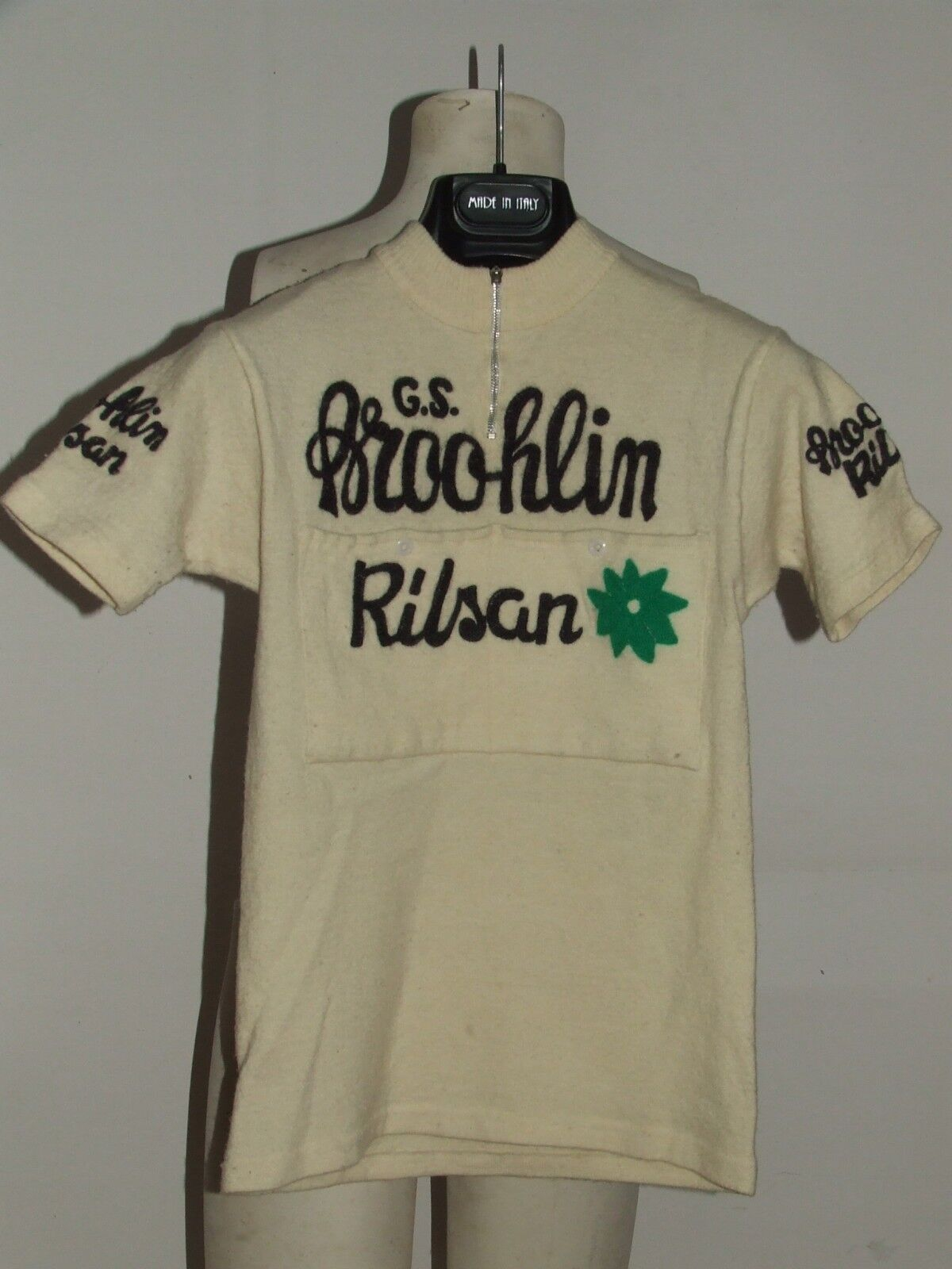 MAGLIA BICI CICLISMO EROICA  VINTAGE 70'S BROOKLIN RILSAN 1960 RICAMATA LANA  precios mas baratos