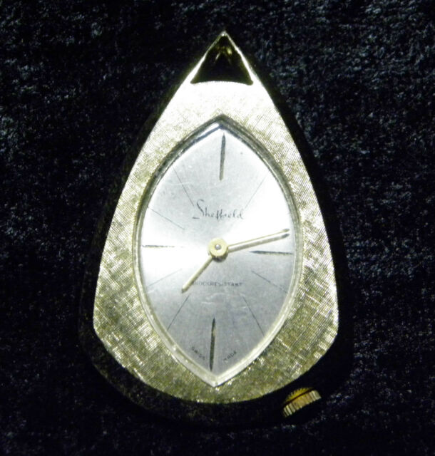 WORKING VINTAGE GOLD TONE SHEFFIELD SWISS WIND UP PENDANT WATCH TIMEPIECE