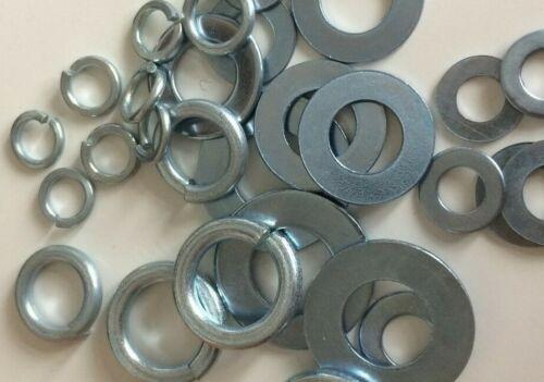10 mm Assortiment 420 x Zinc Plaqué Plat Rondelles et Ressort Rondelles 5 mm 6 mm 8 mm