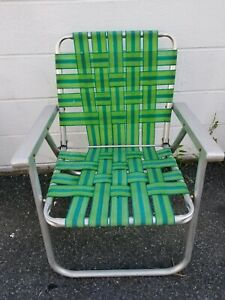 Details about Vintage Folding Aluminum Chair Green Webbed Patio Lawn Chair  Metal Armrests