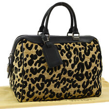 AUTH LOUIS VUITTON SPEEDY 30 LEOPARD HAND BAG BK BR COTTON LEATHER M97396 F01972