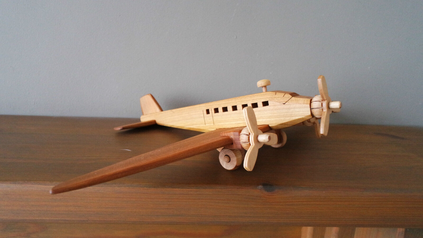Wooden toy, plane Ju-52 - vintage style, handmade, High quality