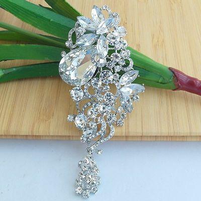 Unique Clear Rhinestone Crystal  Teardrop Flower Bridal Brooch Pin Deco 06521C1