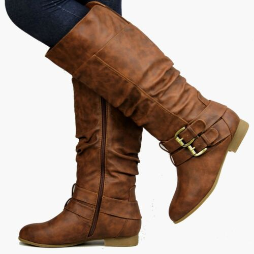 New Women TC20 Tan Slouchy Buckle Knee High Riding Boots 5 to 10