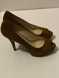 enzo angiolini Sully Suede Peeptoe Pumps Heels Size 9.5