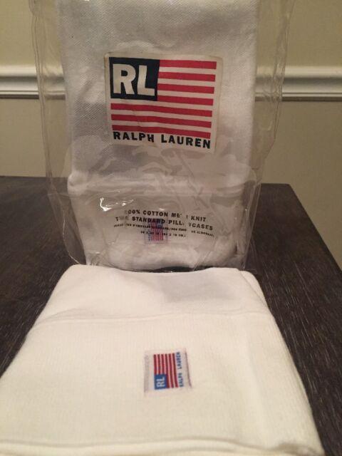 NEW Ralph Lauren San Lucas White Knit Cotton Pillowcases ~ Sport~ RL Flag