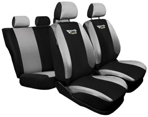 Juego completo de fundas de asiento de Coche Apto Kia Sorento Negro//Plata Cubierta de asiento