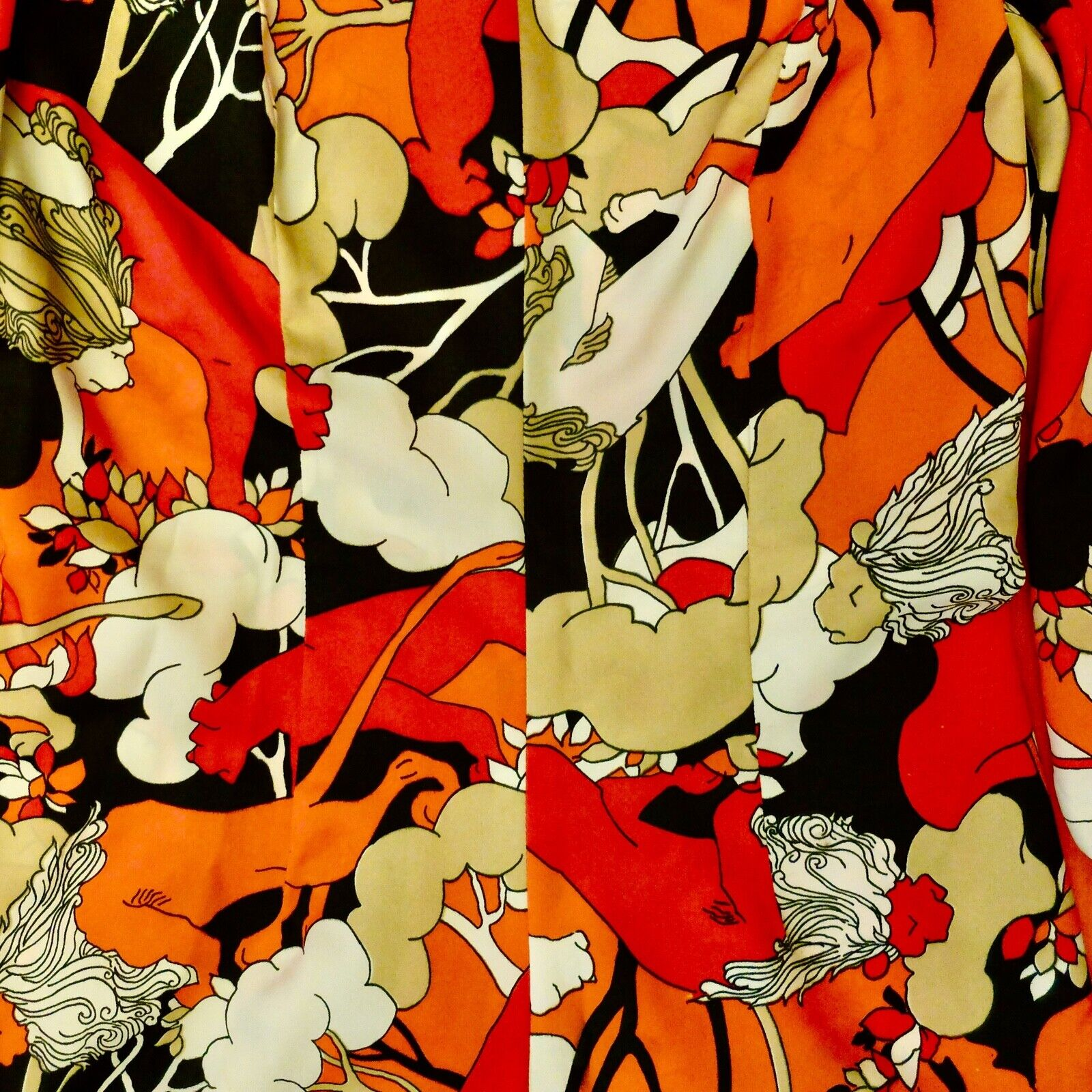 Vintage 60s 70s Handmade Psychedelic Lion Print R… - image 3