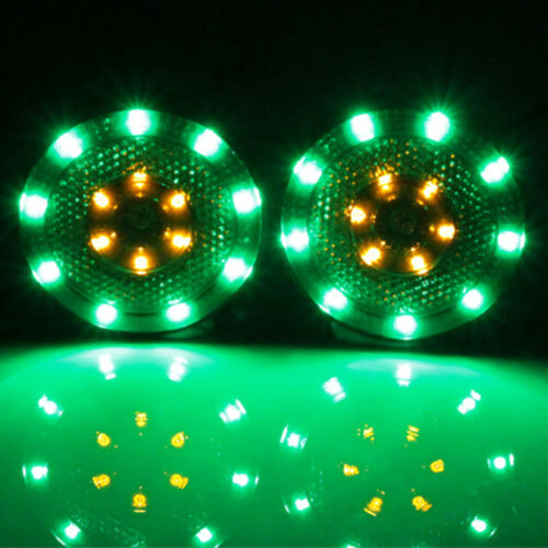 2X Motorcycle Round Dual Color Green & Amber 15 LED Reflectors Tail Light