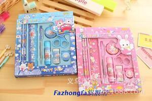 Pink-Blue-Rabbit-Bear-Stationery-Set-Pencils-Sharpener-Ruler-Glue-Stick-Eraser