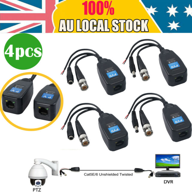 4pcs BNC to RJ45 CAT5 Balun UTP Video Data Power Connector For CCTV PTZ Camera
