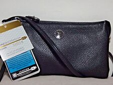 NWT Stone Mountain On-The-Go Plugged In RFID Leather Wristlet Crossbody, Black